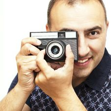 Free Portrait Of Retro Photographer. Stock Photos - 31171443