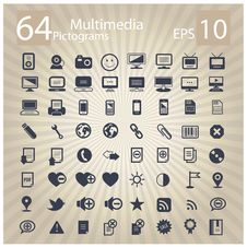 Technology Multimedia Symbols Set Stock Photography