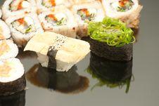 Japanese Seafood Sushi , Roll Set Closeup Royalty Free Stock Photo