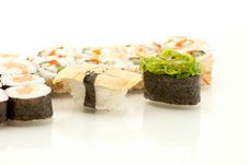 Japanese Seafood Sushi , Roll Set Closeup Royalty Free Stock Images