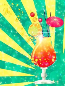 Orange Cocktail With Decorations Royalty Free Stock Photos