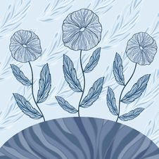 Free Greeting Card With Three Blue Flowers Royalty Free Stock Photo - 31194625