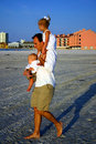 Free Father And Children At Beach Stock Photography - 3124482