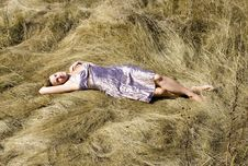Free The Girl Sleeps In A Grass Stock Images - 3121824