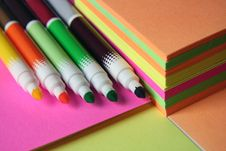 Colored Pen And Paper Stock Photos