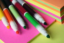 Free Colored Pen Over Colored Paper Stock Photo - 3129880