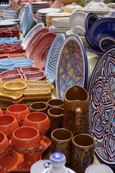 Collection Of Colorful Pottery From Tunisia Royalty Free Stock Image