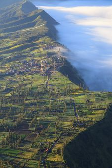 Free Village And Cliff At Bromo Volcano Mountain Stock Photography - 31214442