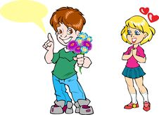 Free Boy Gives A Girl Flowers Stock Images - 31219084
