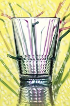 Free Water Glass With Straws In The Background Stock Photography - 31222552