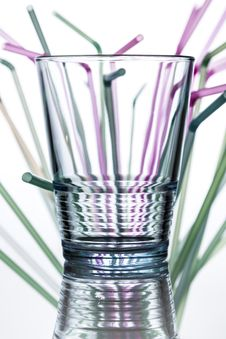 Free Water Glass With Straws In The Background Stock Photography - 31222662