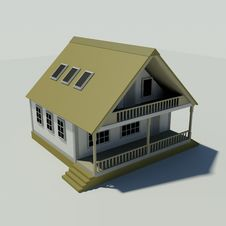 House On A White Background. Created In 3D. Royalty Free Stock Image