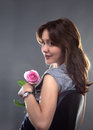 Free Beautiful Young Girl With A Pink Rose Royalty Free Stock Photos - 31230338