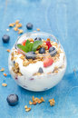 Free Layered Dessert With Yogurt, Granola, Fresh Berries In A Glass Royalty Free Stock Images - 31262349