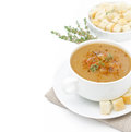 Free Mushroom Cream Soup With Croutons And Thyme Isolated Royalty Free Stock Photography - 31262377