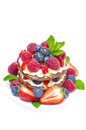 Free Pancakes With Whipped Cream And Fresh Berries Isolated Royalty Free Stock Photo - 31262395