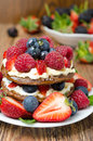 Free Pancake Cake With Whipped Cream And Fresh Berries Royalty Free Stock Images - 31262419