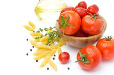Free Fresh Tomatoes, Pasta Penne, Olive Oil And Spices On A White Stock Image - 31262261