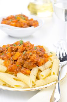 Penne Pasta With Sauce Of Beef, Tomato And Pumpkin Close-up Royalty Free Stock Image