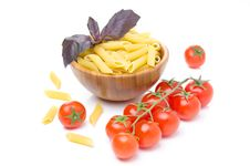 Free Penne Pasta, Fresh Tomatoes And Basil Isolated Stock Images - 31262464