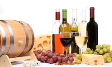 Bottles And Glasses Of Wine With Fruits Royalty Free Stock Images