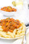 Free Penne Pasta With Sauce Of Beef, Tomato And Pumpkin Close-up Royalty Free Stock Image - 31262436