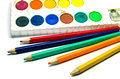 Free Water Color Palette And Color Pencils Royalty Free Stock Image - 31283236