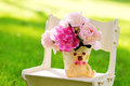 Free Still Life With Peonies On The Lawn Royalty Free Stock Photography - 31289717