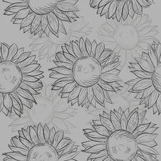 Free Cute Seamless Pattern With Sunflowers. Abstract Gray, Black And White. Royalty Free Stock Photo - 31284835