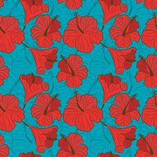 Free Vector Seamless Pattern With Hibiscus Stock Photos - 31292973