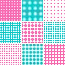 Seamless Polka Dot In Pink & Turquoise Stock Photo