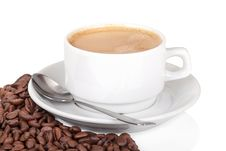 Free Cup Of Coffee With Coffee Beans On White Royalty Free Stock Photo - 31295995