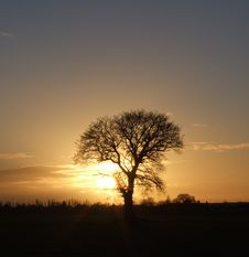 Sunset Over Fields In Cornwall Stock Photography