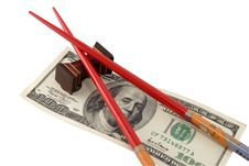 Free Chopsticks And 100 Dollars Stock Photo - 3131650