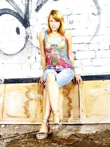 Free Model Sitting On The Door Royalty Free Stock Photo - 3133085