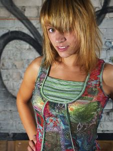 Free Model And Graffiti Royalty Free Stock Photo - 3133105