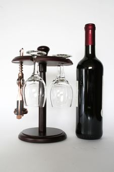 Free Red Wine And Corkscrew Stock Image - 3133361