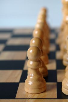 Row Of Pawns In Chess Game Royalty Free Stock Images