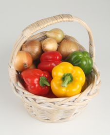 Basket With Peppers Stock Photo