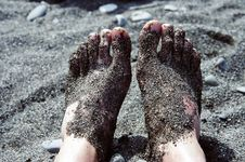 Free Feet In Pebbles On The Beach Royalty Free Stock Photography - 3137987