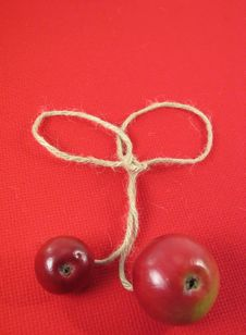 Free Red Apple And String On Red Ti Royalty Free Stock Images - 3138509