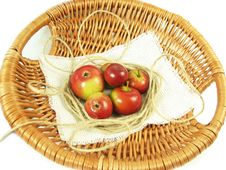 Red Apple In Basket And String