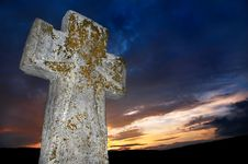 Free Brightly Lit Stone Cross Stock Photos - 3138683