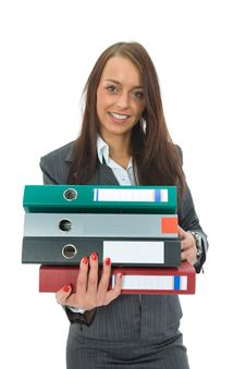 Free Business Woman With Folder Stock Photography - 3139002