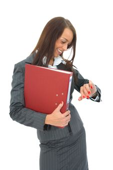 Free Business Woman With Folder Royalty Free Stock Photos - 3139038