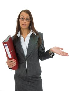 Free Business Woman With Folder Royalty Free Stock Image - 3139076