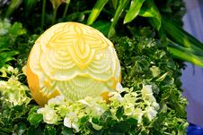 Free Cantaloup Carving 8 Royalty Free Stock Photography - 31307567
