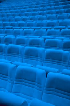 Free Rows Of Blue Arm-chairs In Empty Hall Stock Photography - 31309622