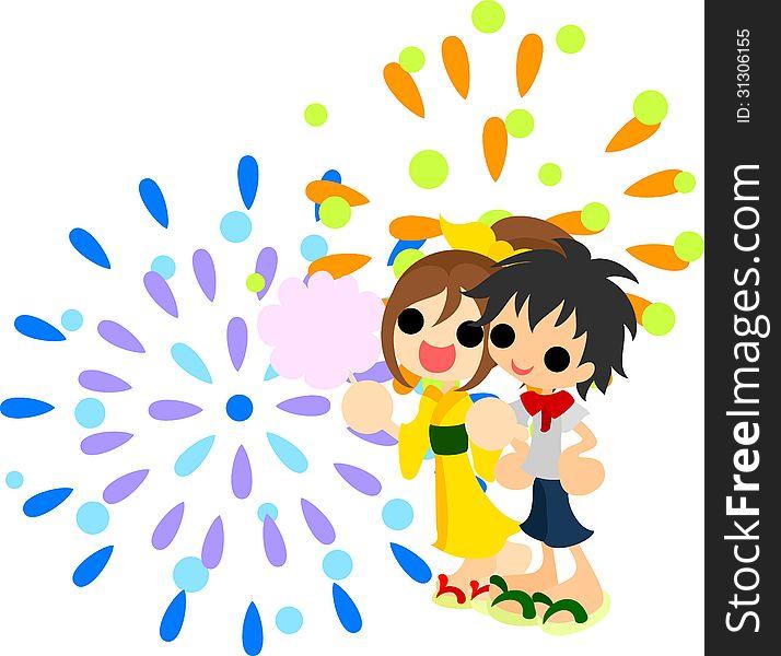 Fireworks in summer festival.