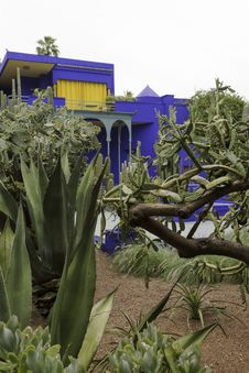 Buildings In Majorelle On A Rainy Day Stock Photo